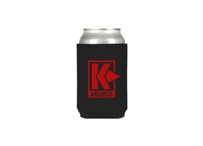 Red on black Kellyco Koozie with a can