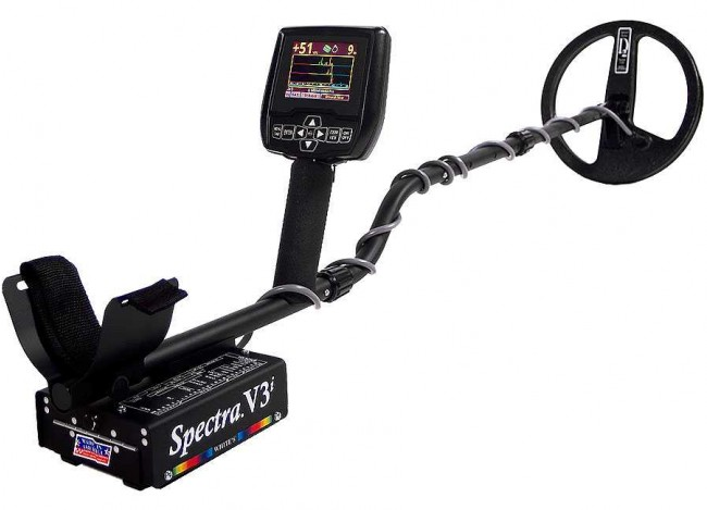 White's Spectra V3i Metal Detector shown with arm sling facing viewer