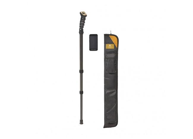 OKM Rover UC Version A Metal Detector upright next to carrying care