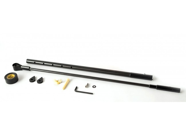 Disassembled Shaft and Lower Rod with Hardware on White Background