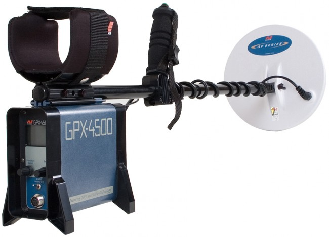 Full view of Minelab GPX 4500 Metal Detector starting from the back of control box