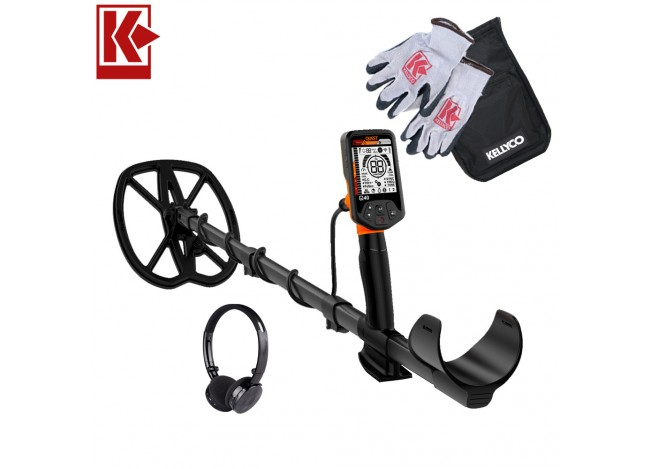 Quest Q40 Metal Detector with Kellyco Gloves and Pouch in Upper Right Corner and Red Kellyco Logo in Upper Left on White Background