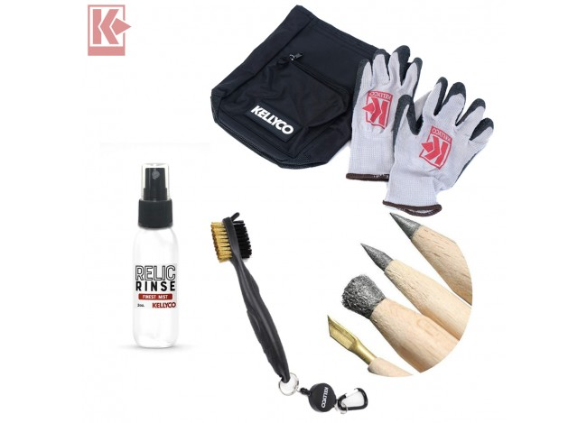 Kellyco Relic Bundle with Relic Rinse Bottle Sifter Bag Gloves Andre's Pencils Finds Brush on White Background