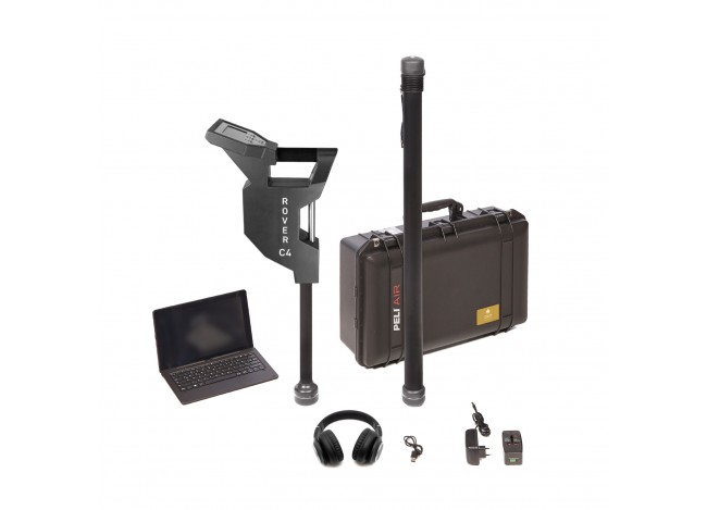 OKM Rover C4 Metal Detector on White Background withe Laptop Case and Headphones