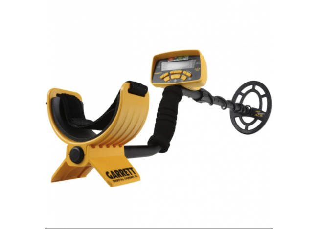 Garrett Ace 300 Yellow and Black Metal Detector on White Background