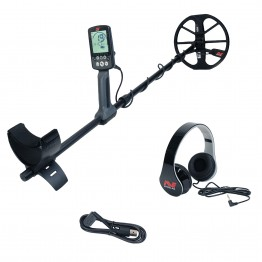 Minelab Equinox 600 Metal Detector with Headphones and Charging Cable on White Background