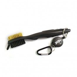 Kellyco Retractable Brass Finds Brush shown with attached carabiner