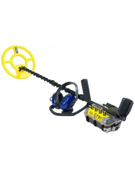 White's TDI BeachHunter Metal Detector with blue waterproof headphones