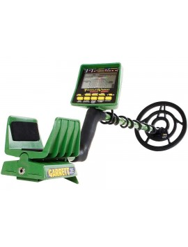 Angled view of Garrett GTI 2500 Pro Metal Detector with arm rest facing viewer