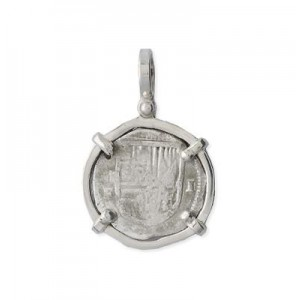 Image of Mel Fisher Sterling Silver Single Prong 1 Reale Pendant - Shield-Out