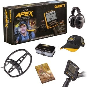 "Image of Garrett ACE Apex Metal Detector with 8.5"" x 11"" Multi-Flex DD Raider Coil, MS-3 Headphones Spring Special Accessory Bundle"