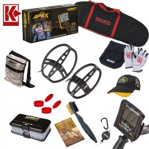 Image of Garrett ACE Apex Metal Detector, Two Extra Search Coils Ripper & Raider and Camo Pouch Bundle