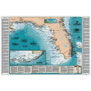 Sealake Maps Laminated Shipwreck Map of Florida and the Eastern Gulf of Mexico