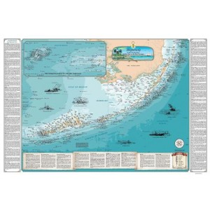 Image of Sealake Maps Laminated Shipwreck Map of the Florida Keys