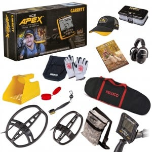 Image of Garrett ACE Apex Metal Detector, Two Search Coils Ripper & Raider, Headphones & Sand Scoop Beach Bundle