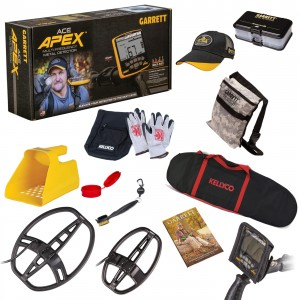 Image of Garrett ACE Apex Metal Detector, Two Search Coils Ripper & Raider, Sand Scoop Beach Bundle