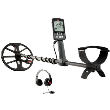 Minelab Equinox 600 Metal Detector shown with headphones included from Kellyco Metal Detectors