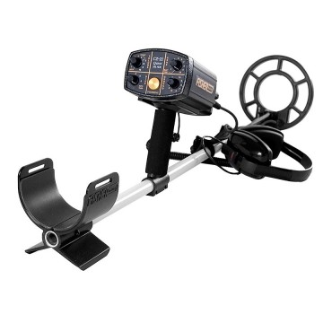 "Fisher CZ-21 Metal Detector with 8"" Search Coil with arm sling pointing to viewer"