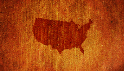Image of the USA map on a burlap background