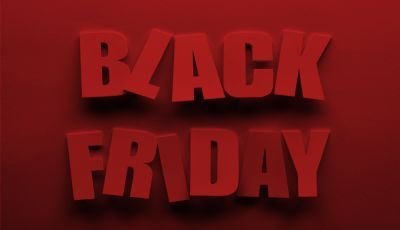 Black Friday block font on red background