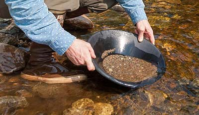 Man panning for gold in a stream