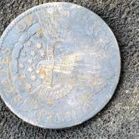 Reverse of 1802 Draped Bust Silver Dime on Textured Gray Background