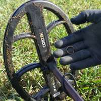Gold Ring in Gloved Hand with Coiltek 14 x 9 Search Coil in the Background with Grassy Lawn and Grass on Coil