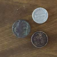 Reverse Side of Buffalo Nickel, Wheat Penny and Mercury Dime on Wood Grain Background